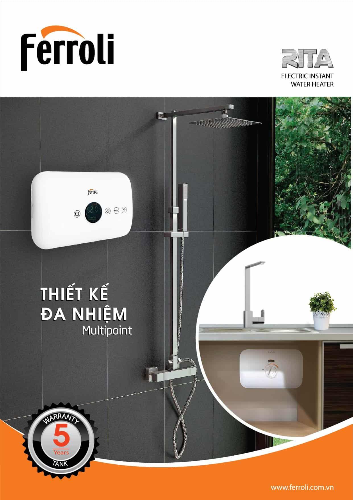 Bình nước nóng Ferroli Rita – sản phẩm tiện dụng dành cho phòng bếp và phòng tắm