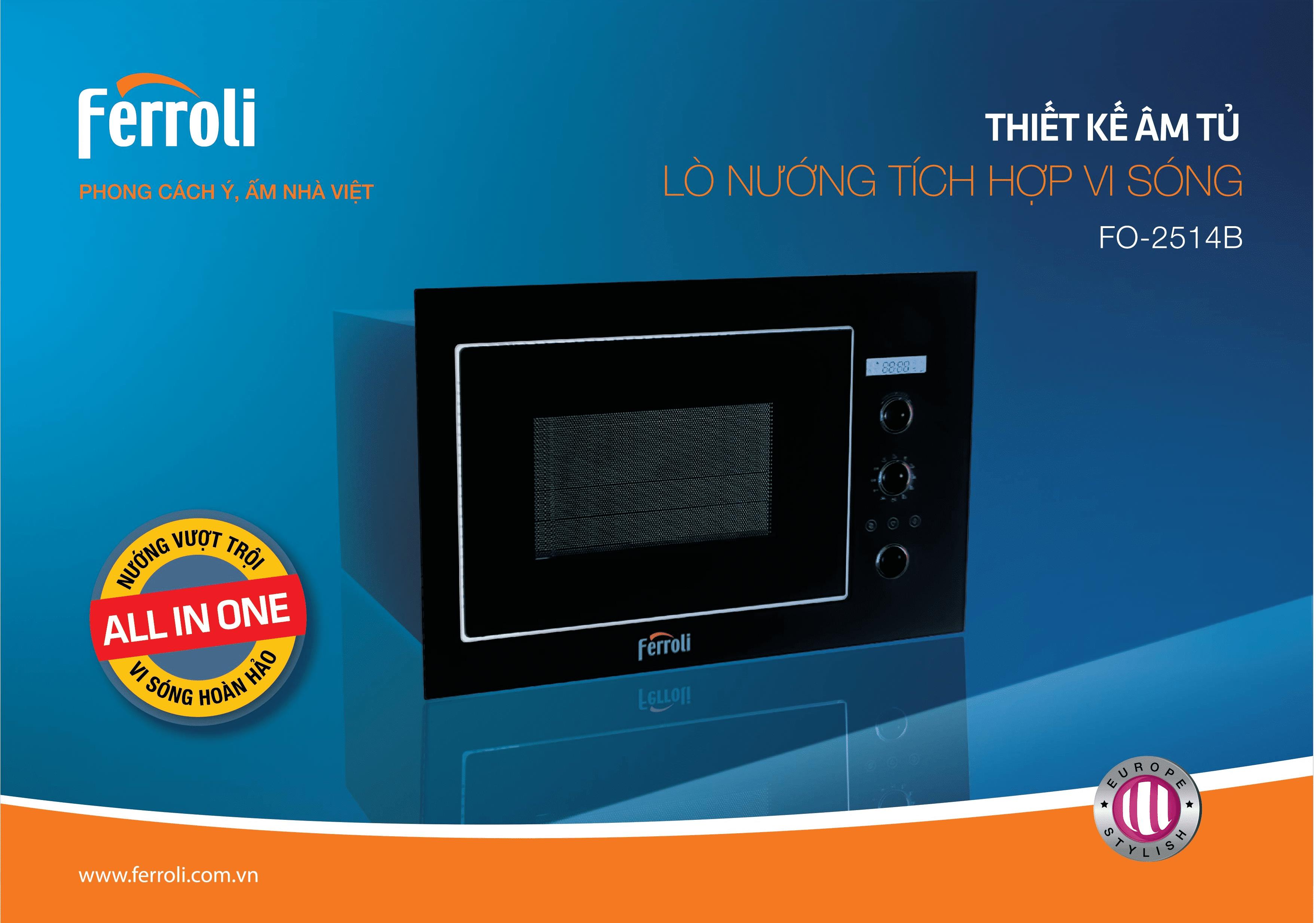 Lò nướng tích hợp vi sóng thiết kế âm tủ FO-2514B – lựa chọn hoàn hảo cho căn bếp hiện đại